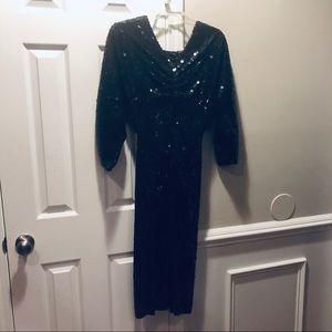 Vintage Oleg Cassini sequin black dress 8